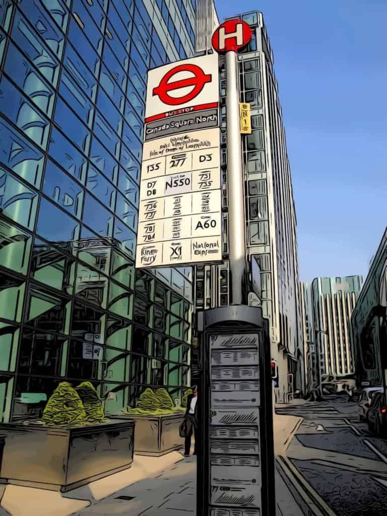 bus stop photo canary wharf