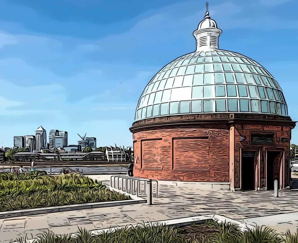 greenwich foot tunnel canary wharf background