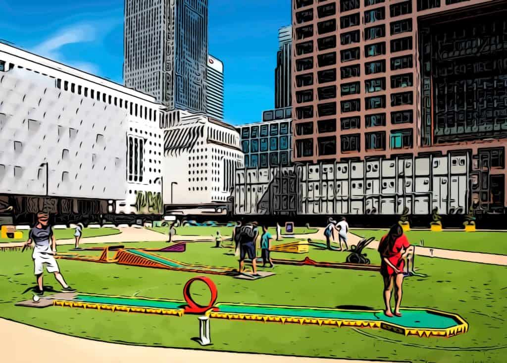 free things to do in Canary Wharf bank street minigolf looking out across the park onto one canada square and the quay club