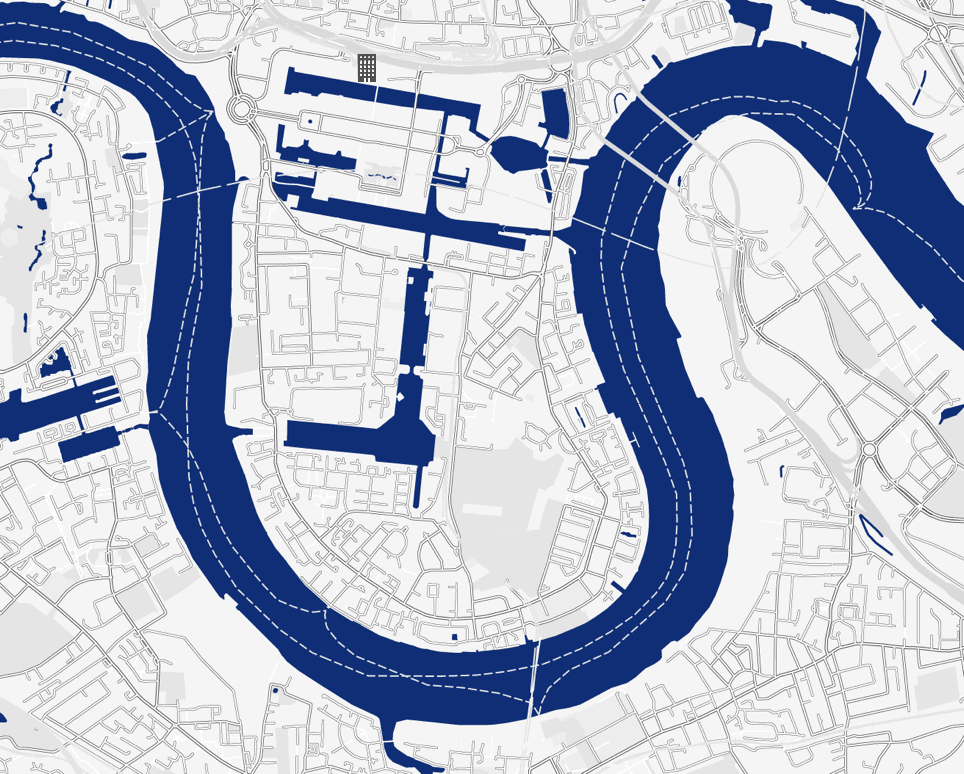 1 west india quay located on a map of Canary Wharf