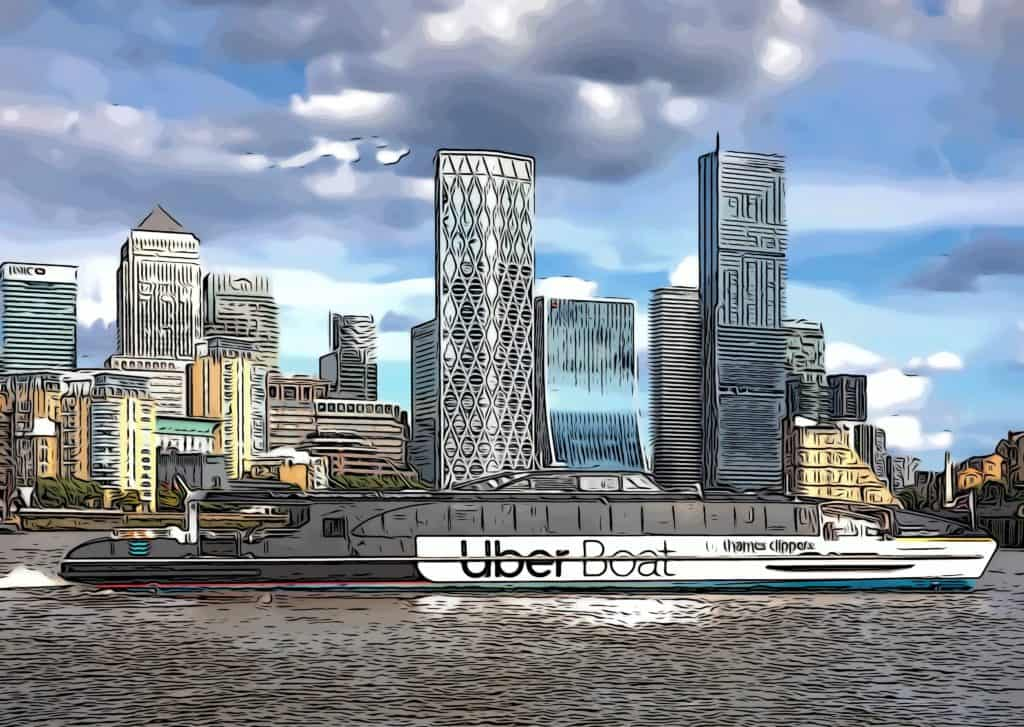 Uber Boat infront of Canary Wharf