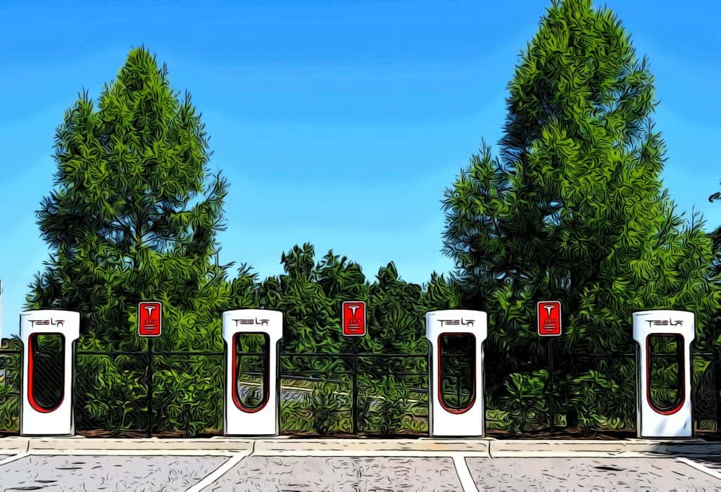 driving to canary wharf tesla supercharger station