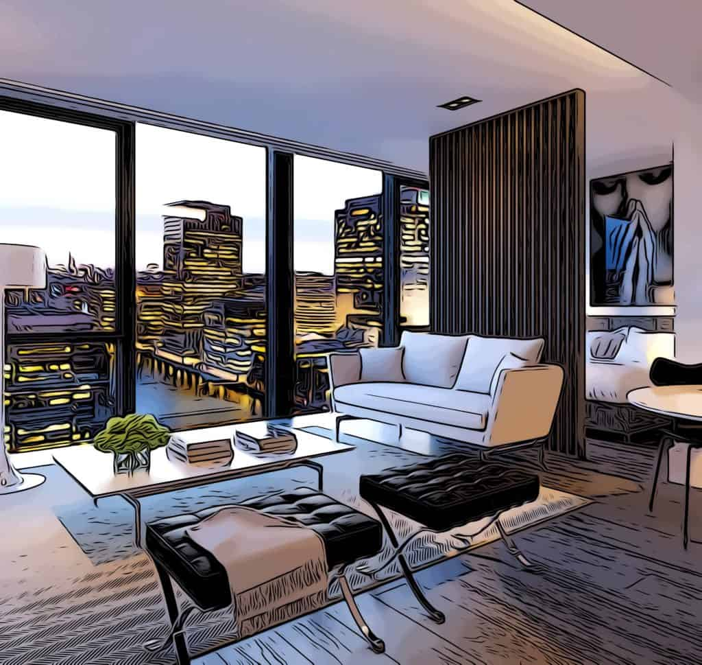 the madison interior designed by make architects showing views towards canary wharf