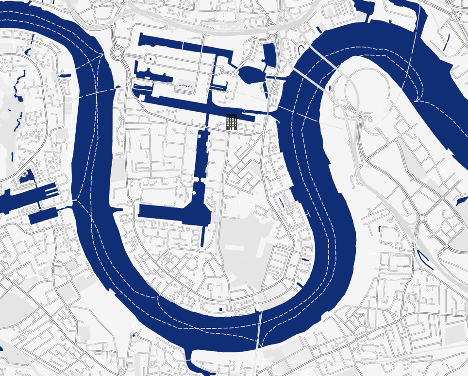 the madison location map, marsh wall, e14 9yt