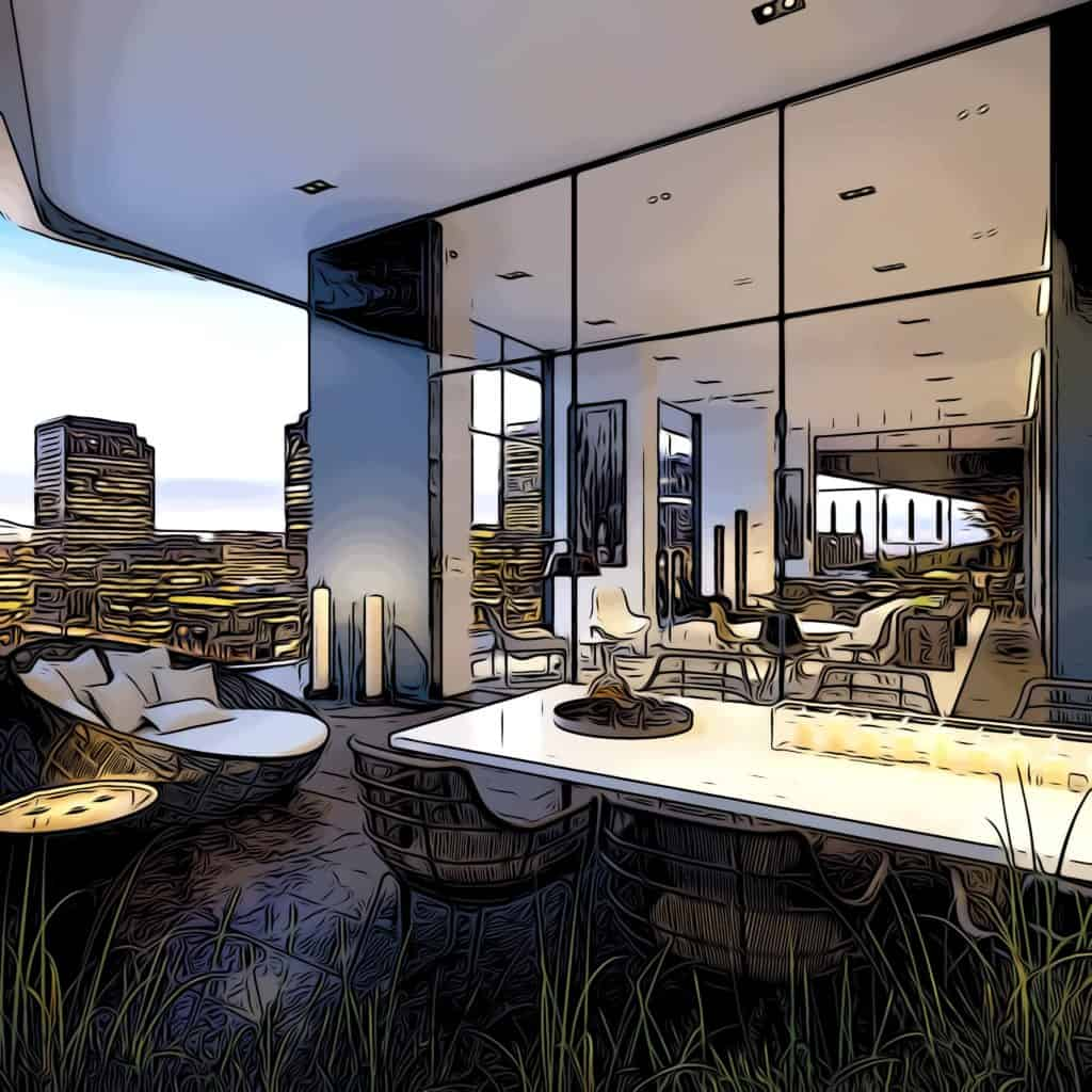 the madison e14 residents lounge and terrrace