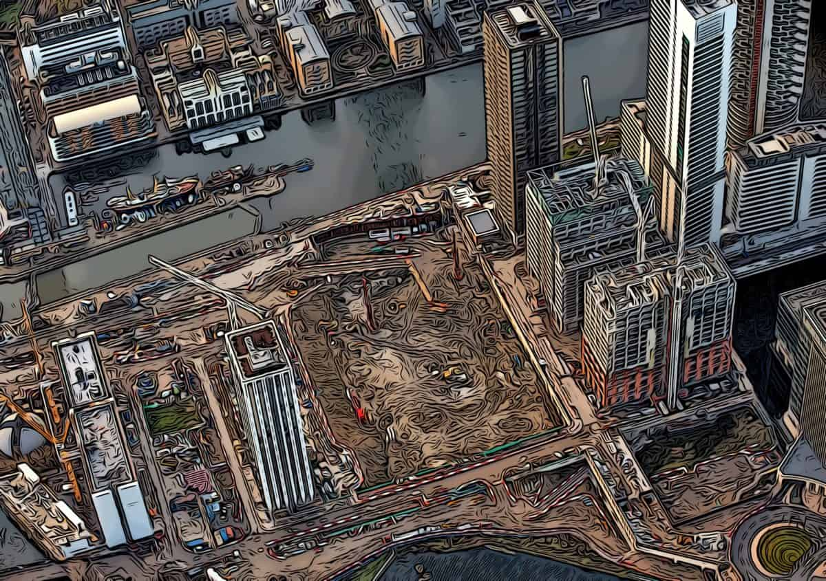 wood wharf private estate under construction aerial