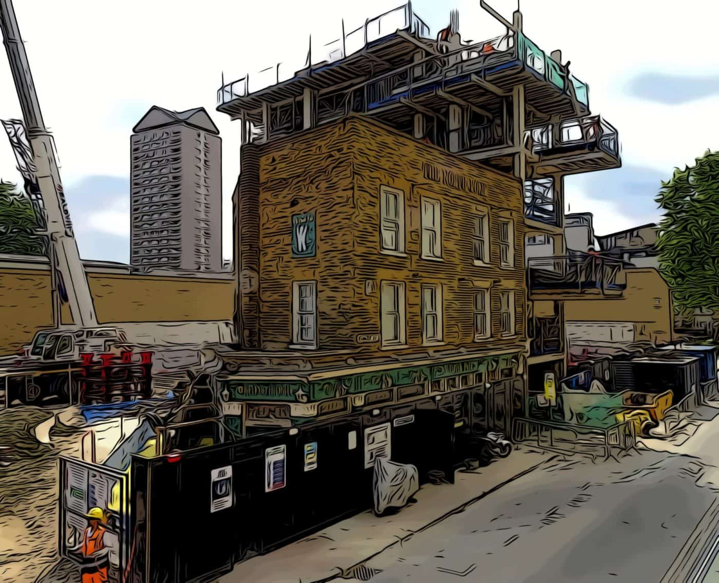 the north pole public house during construction of consort place