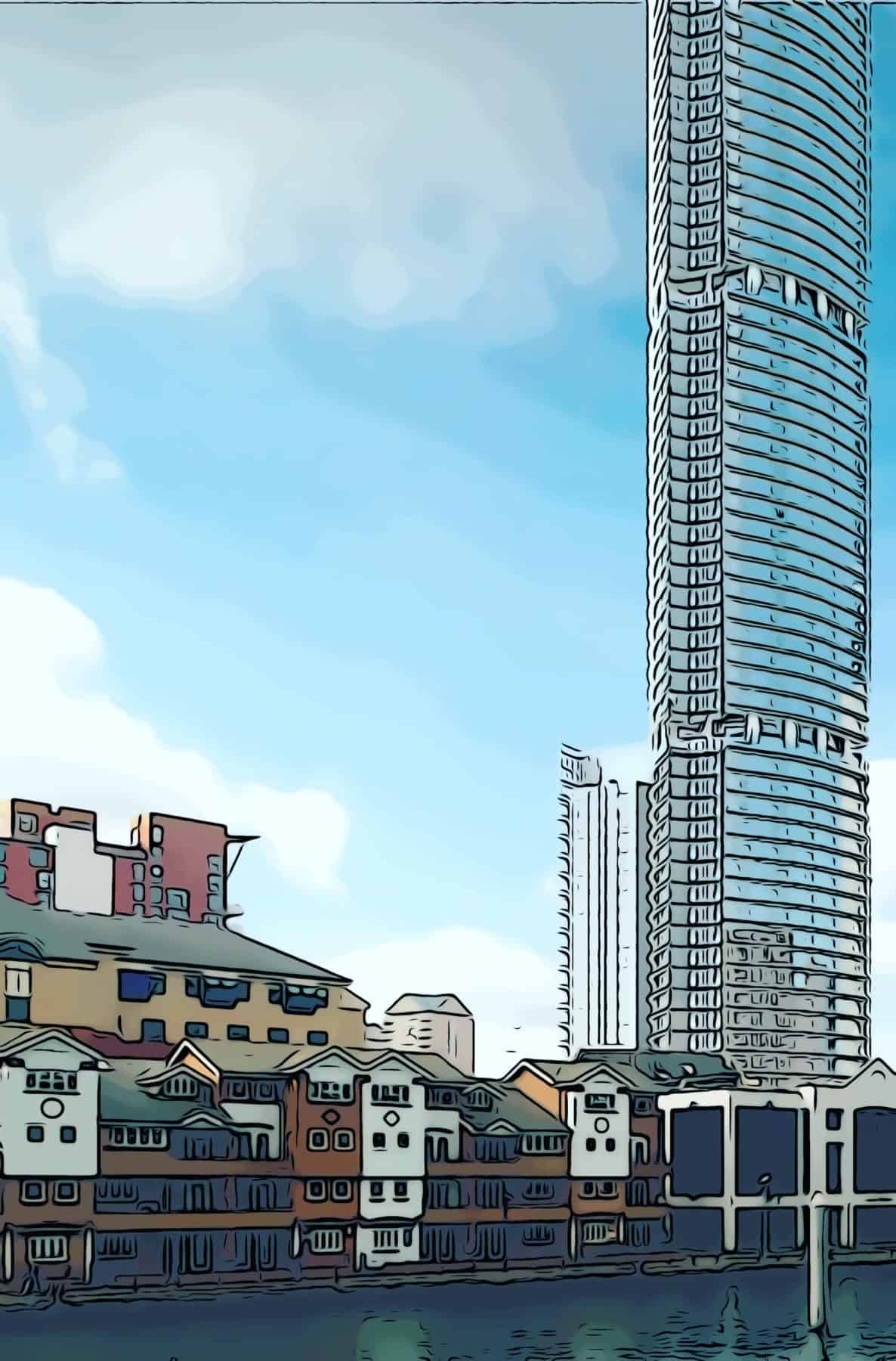 An artists impression showing the towering Aspen building from South Dock