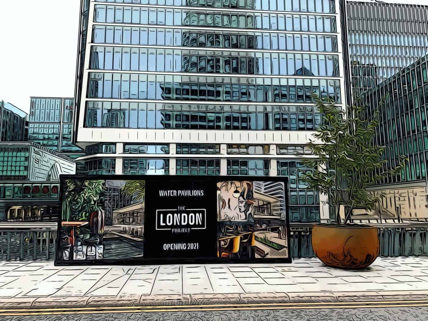 Wood Wharf advertising hoardings for Water Pavilions