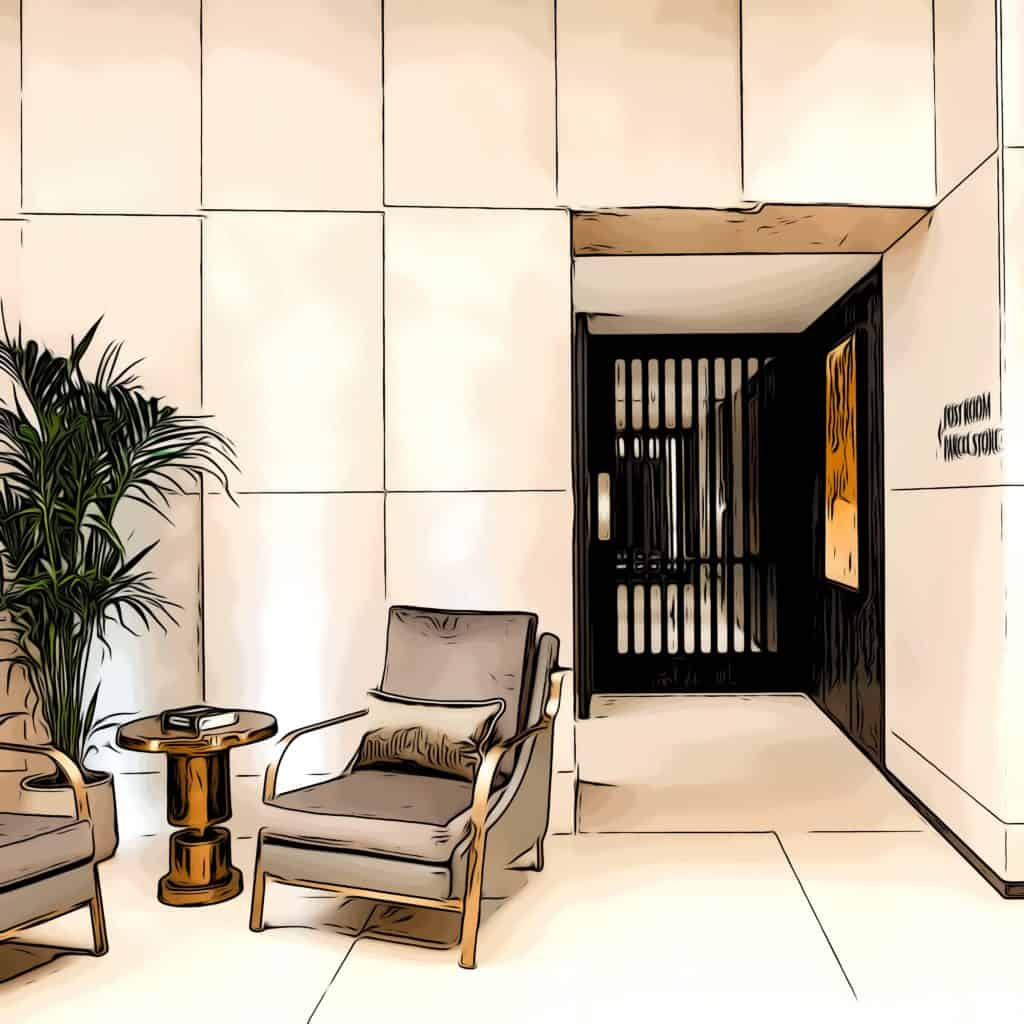 8 water street entrance lobby with interior design by AGC