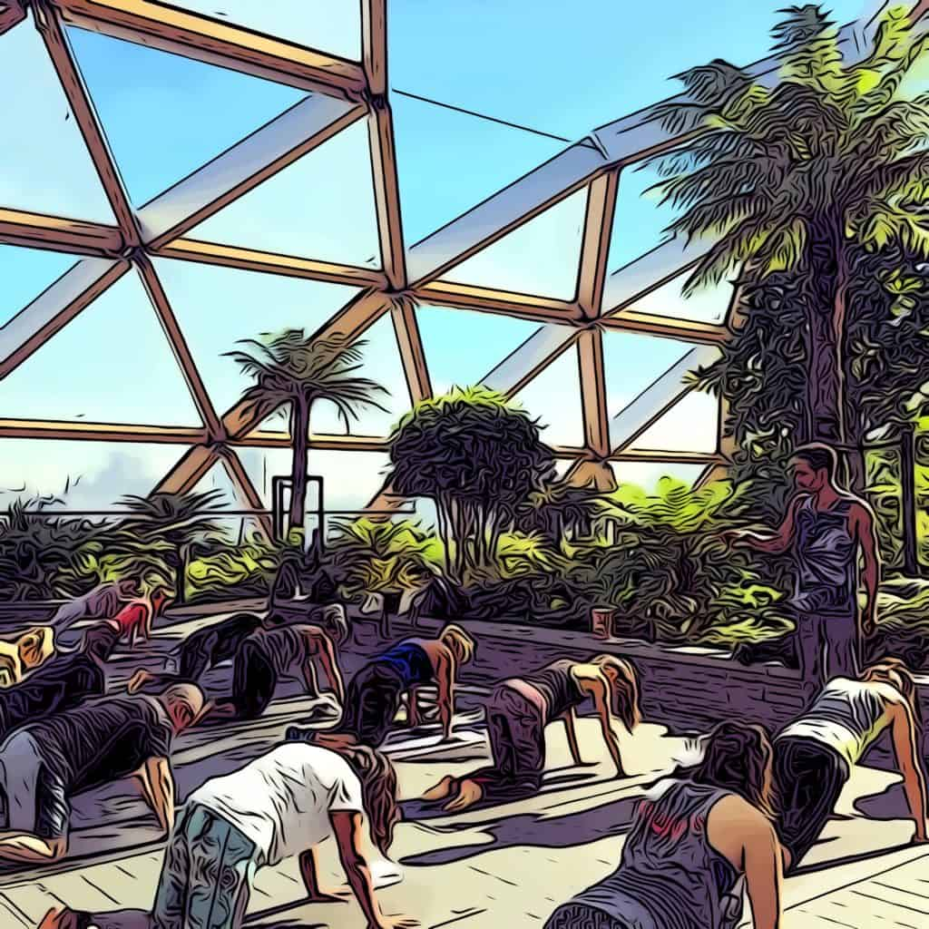 Third Space Canary Wharf yoga class at crossrail place roof terrace