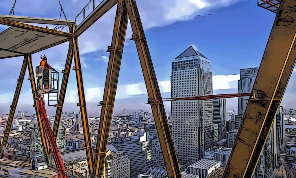 newfoundland quay construction with views to one canada square in canary wharf
