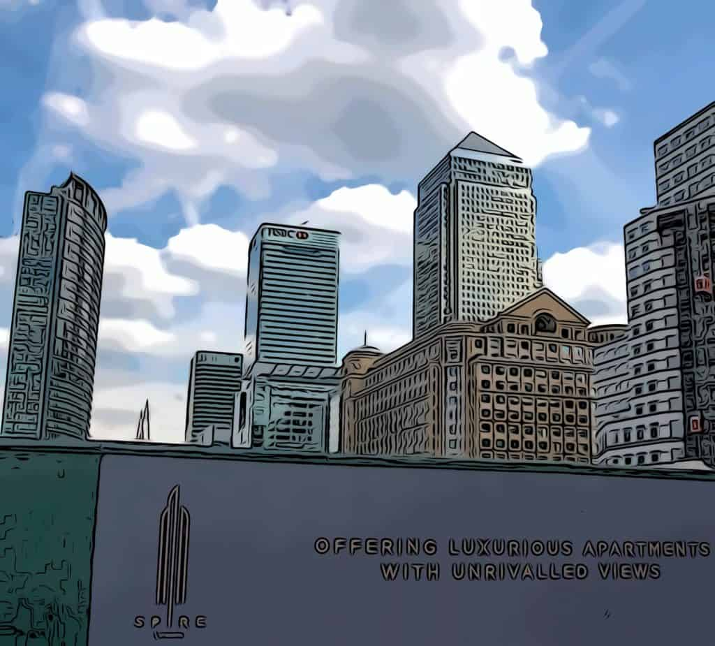 spire london 2 hertsmere road site with hoardings and one canada square in background