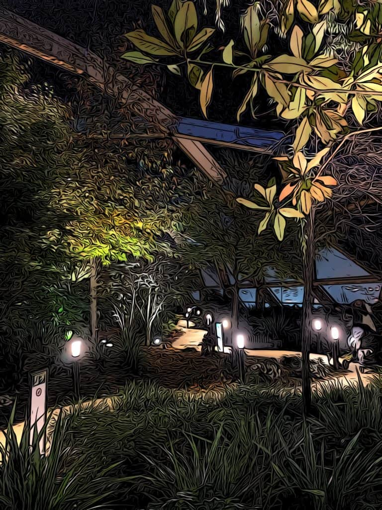 canary wharf crossrail place roof gardens illuminated at night