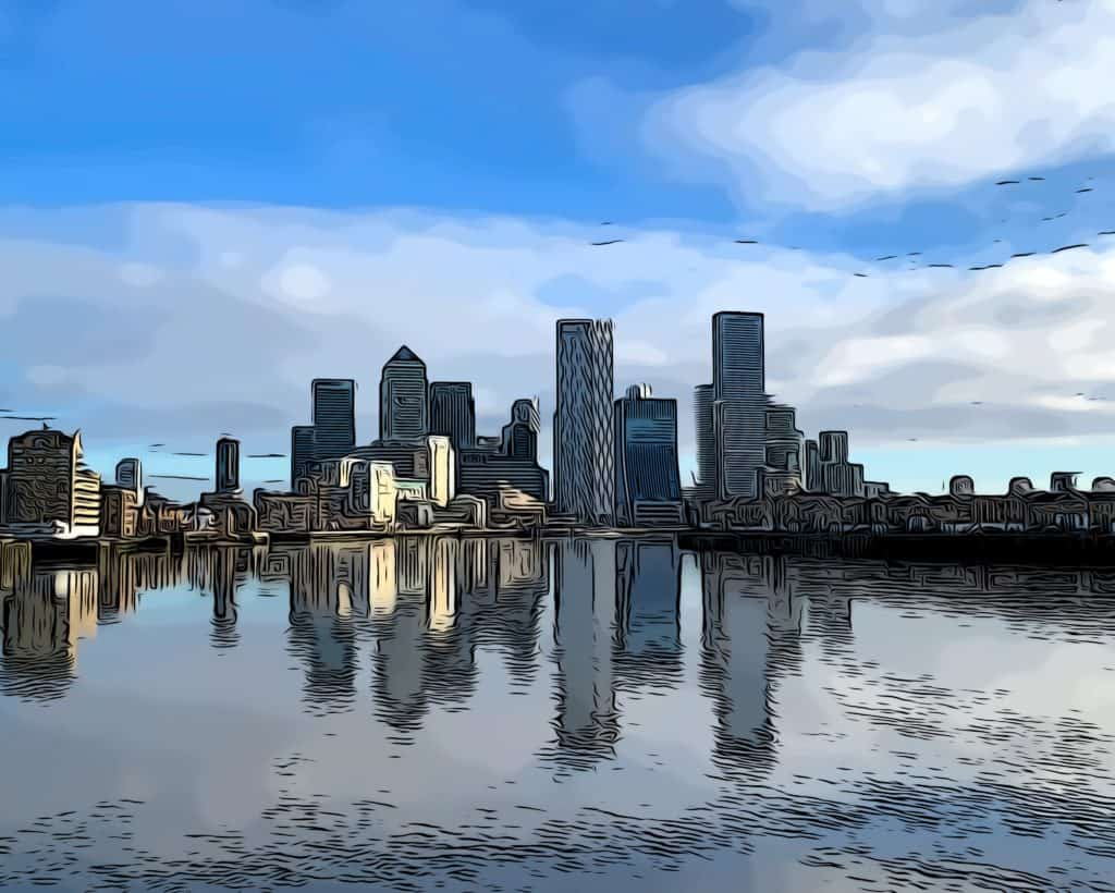 a view towards canary wharf from thames path