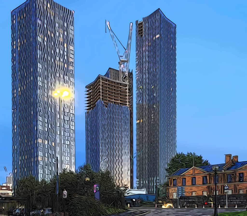 how tall is canary wharf vs manchester deansgate