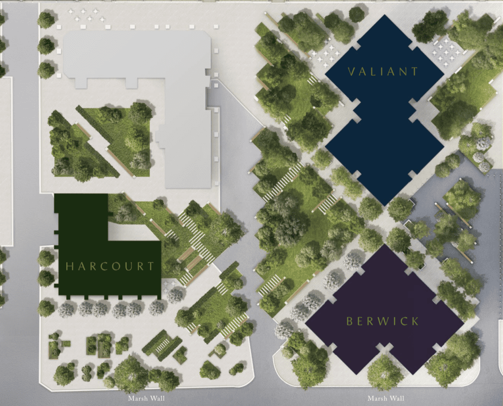 south quay plaza site plan showing Valiant tower harcourt gardens and berwick tower