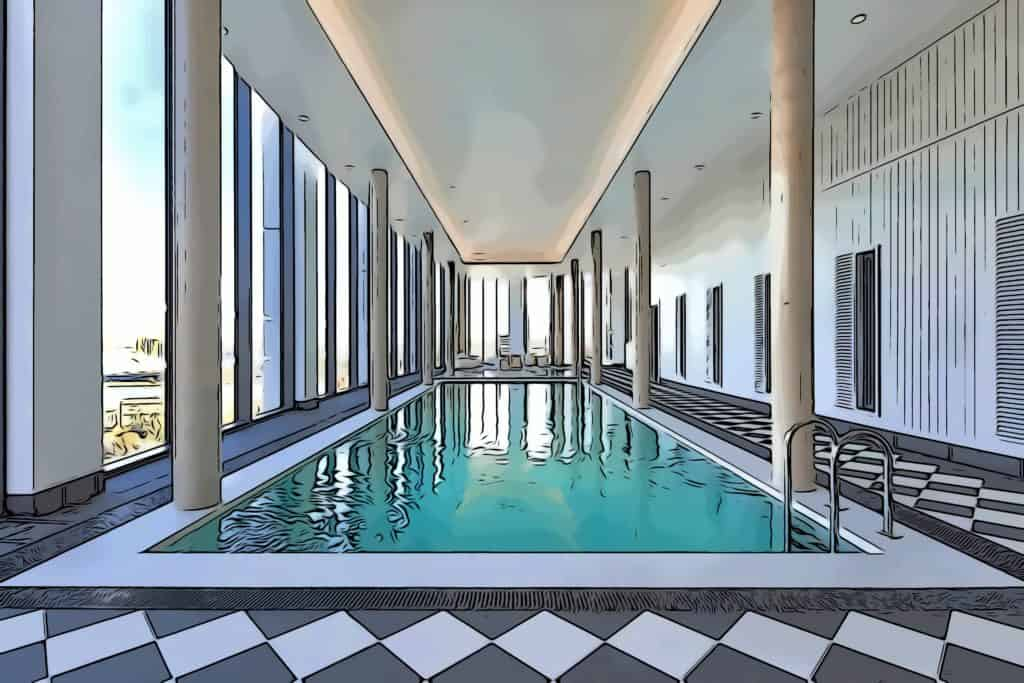 the collective canary wharf sky pool located on 20th floor