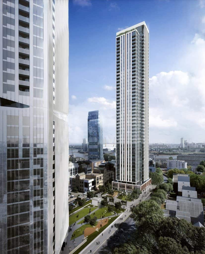 225 marsh wall and the madison bookending a new park in canary wharf