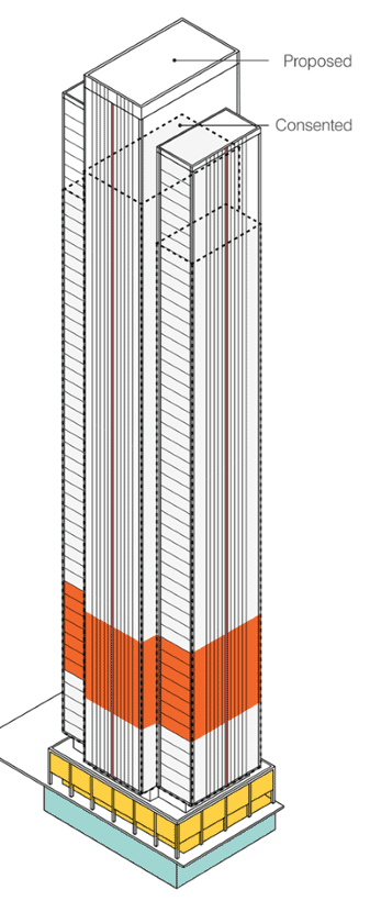 225 marsh wall new height plans showing additional 7-storeys