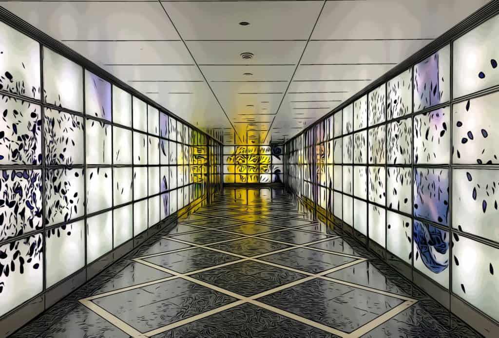 canary wharf art trail illuminated exhibit art glass wall by Alexander Beleschenko