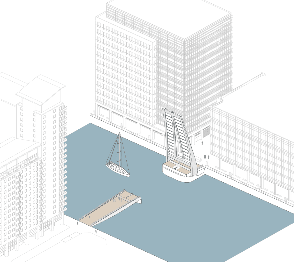 canary wharf new south dock footbridge plans showing open