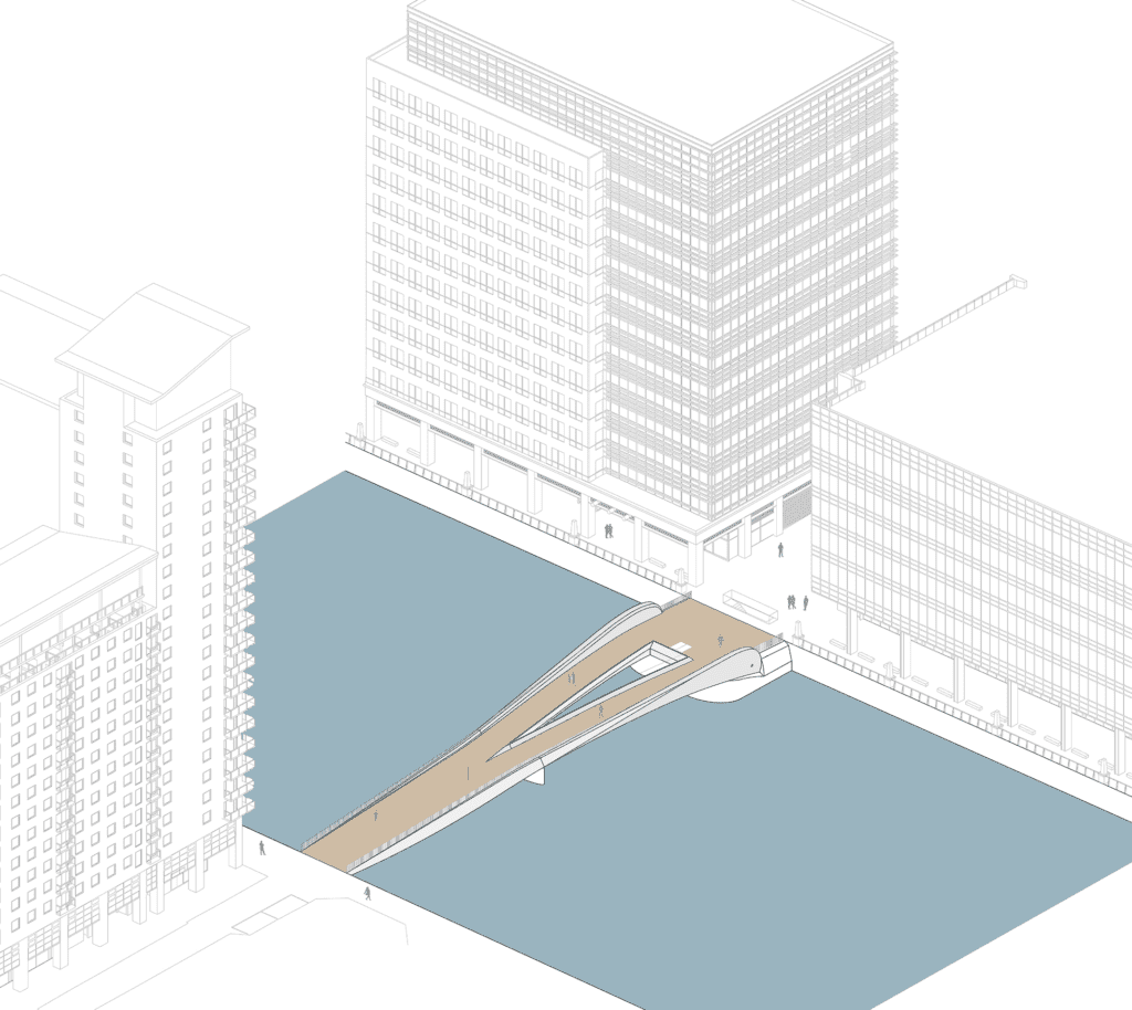 canary wharf new footbridge across south dock plans showing closed
