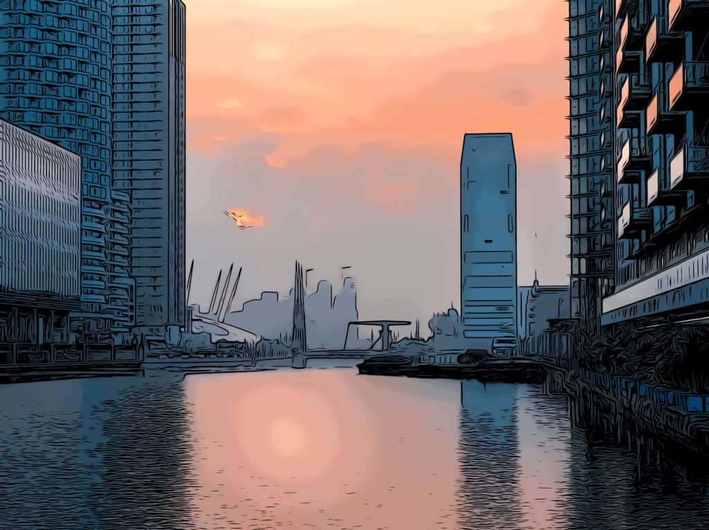 dollar bay by mount anvil in canary wharf designed by Simpson Haugh shown at sunset