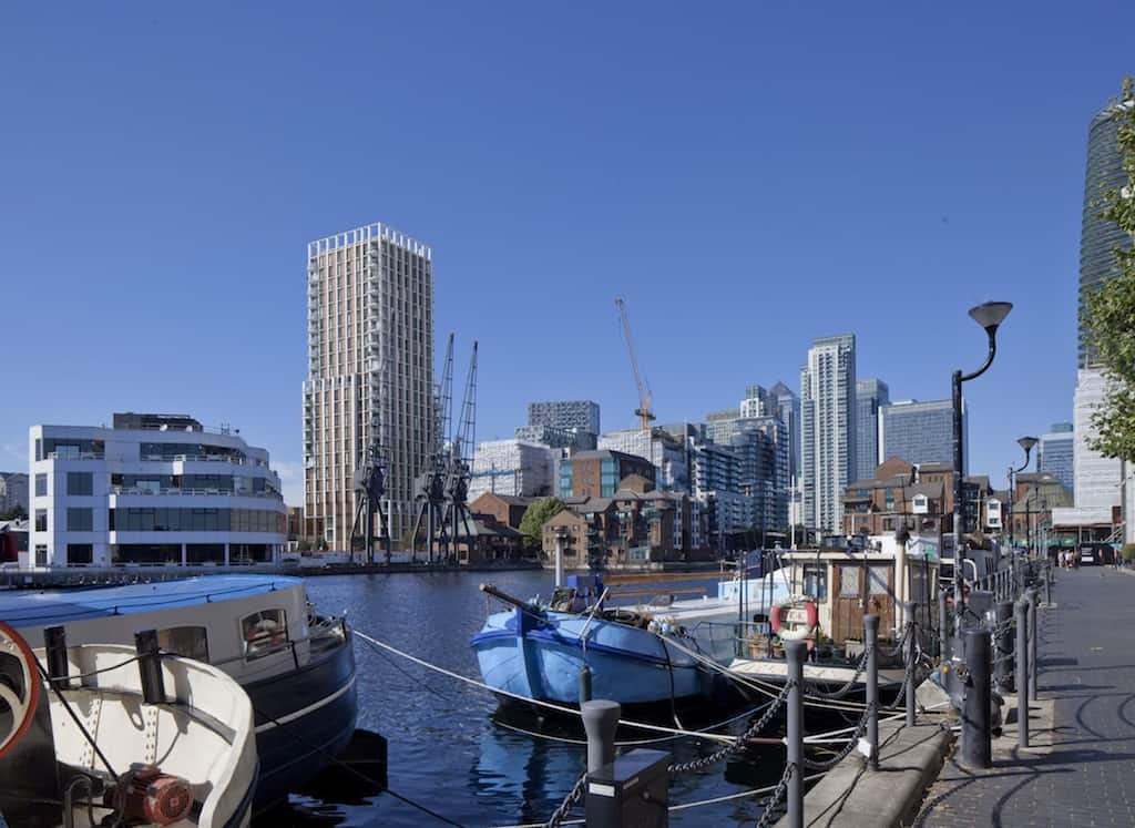 glengall quay development view from millharbour inner dock