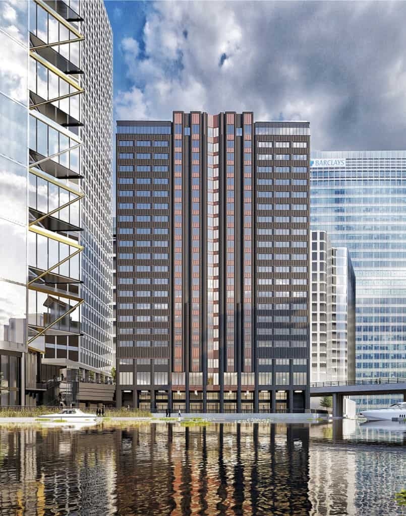 one charter street aparthotel by locke in wood wharf view across blackwall basin