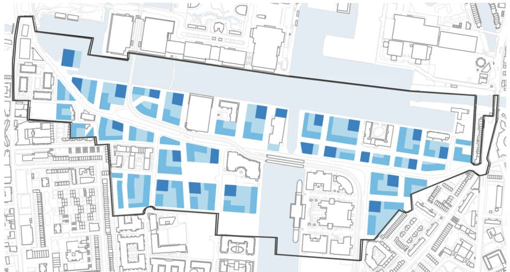 south quay development areas bordering canary wharf and mill harbour