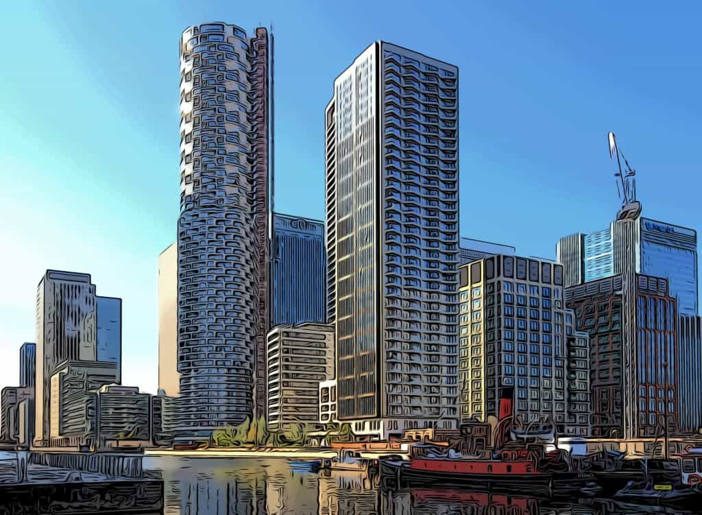 canary wharfs new wood wharf area under construction during 2021
