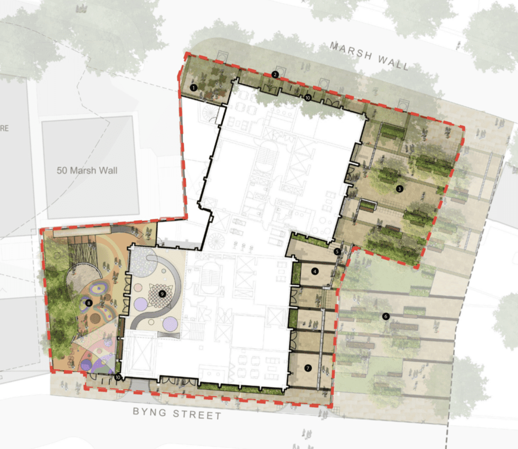 landscaping plans by fabrik for 54 marsh wall plot