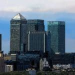 canary wharf view of financial buildings with high salaries