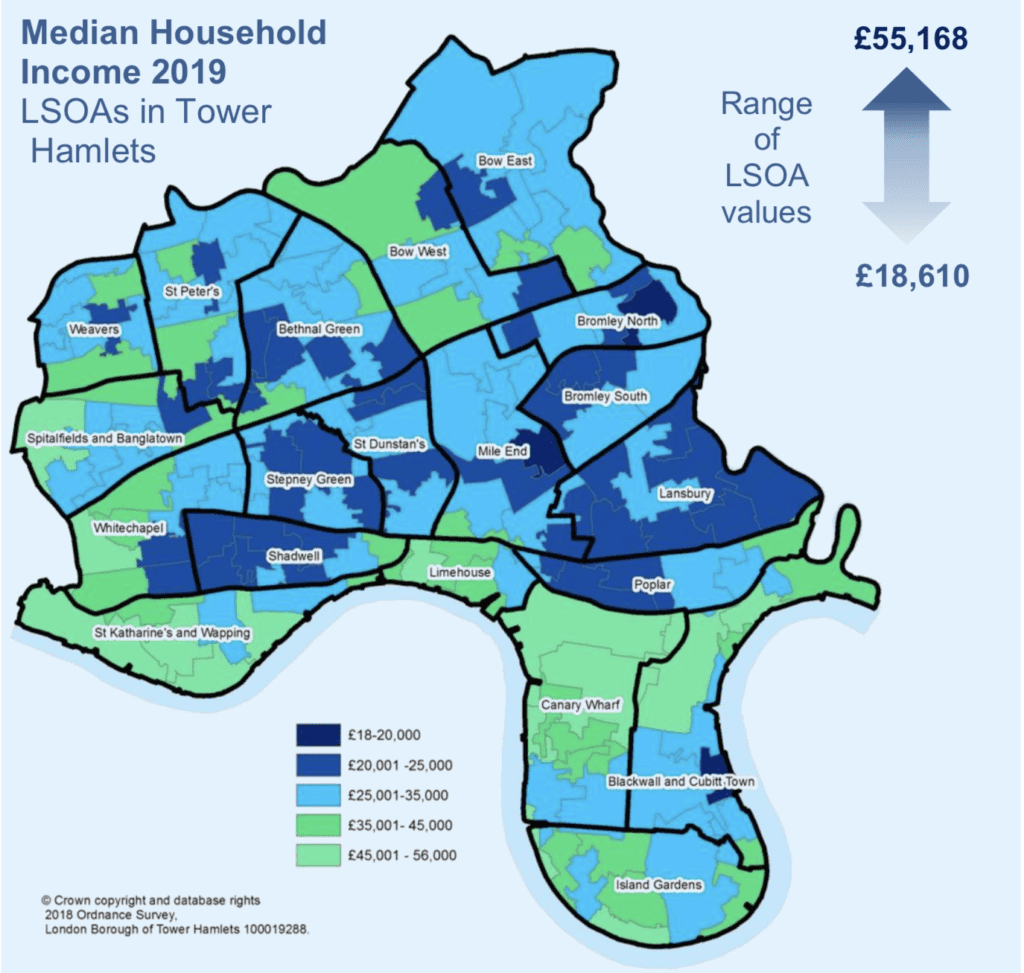 map of canary wharf household incomes