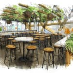 pergola london canary wharf bar seating area in crossrail place