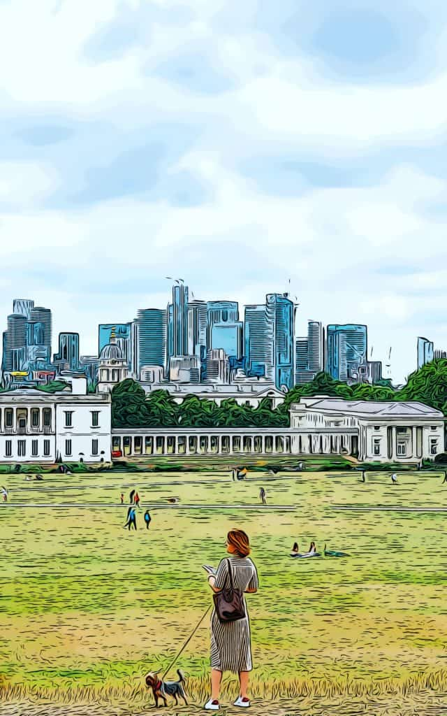 woman walking her dog in greenwich park overlooking pet friendly developments in canary wharf