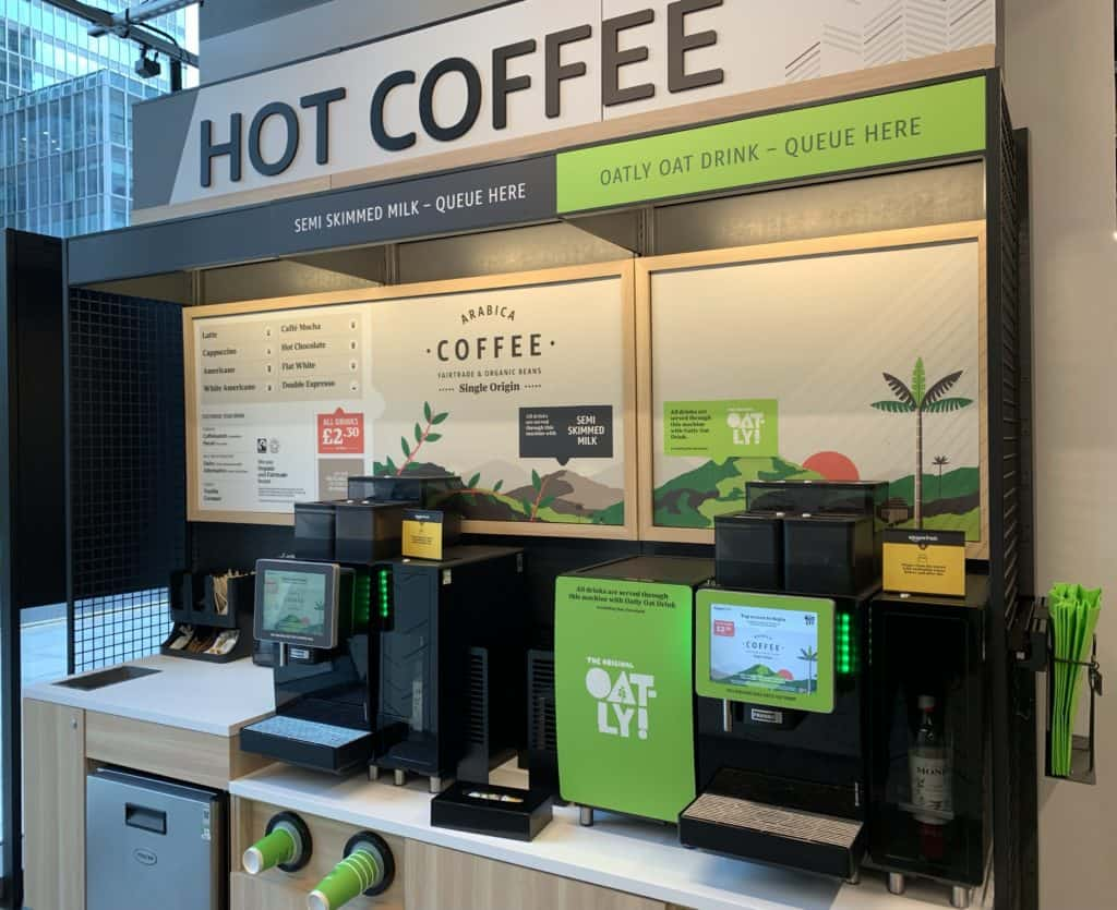 fresh bean to cup coffee at amazon fresh canary wharf store