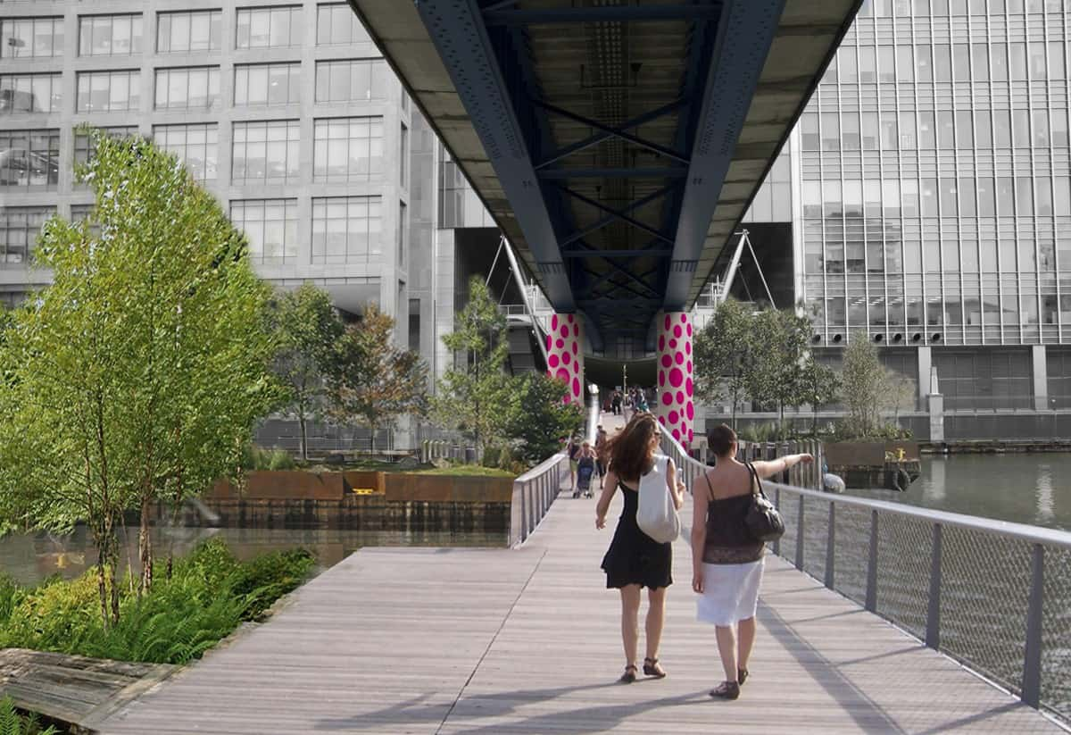 the underline canary wharf footbridge linking south quay with the financial centre