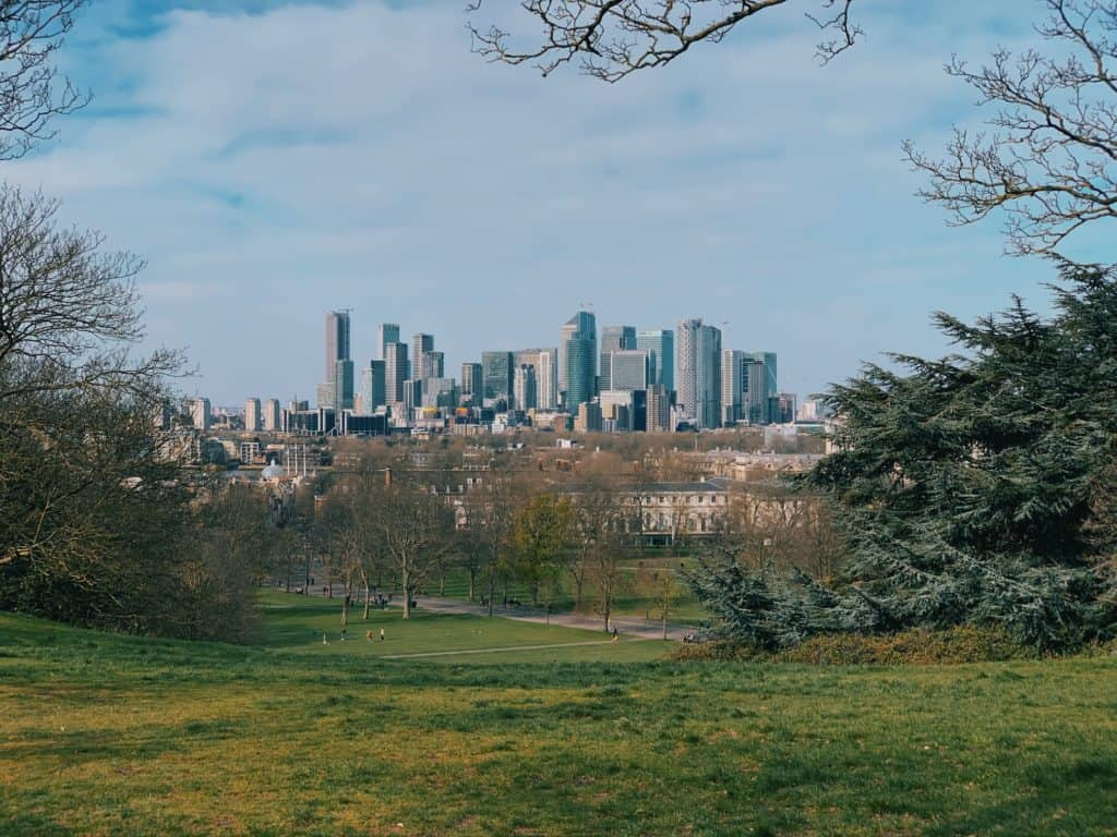 view of canary wharf taken from greenwich park