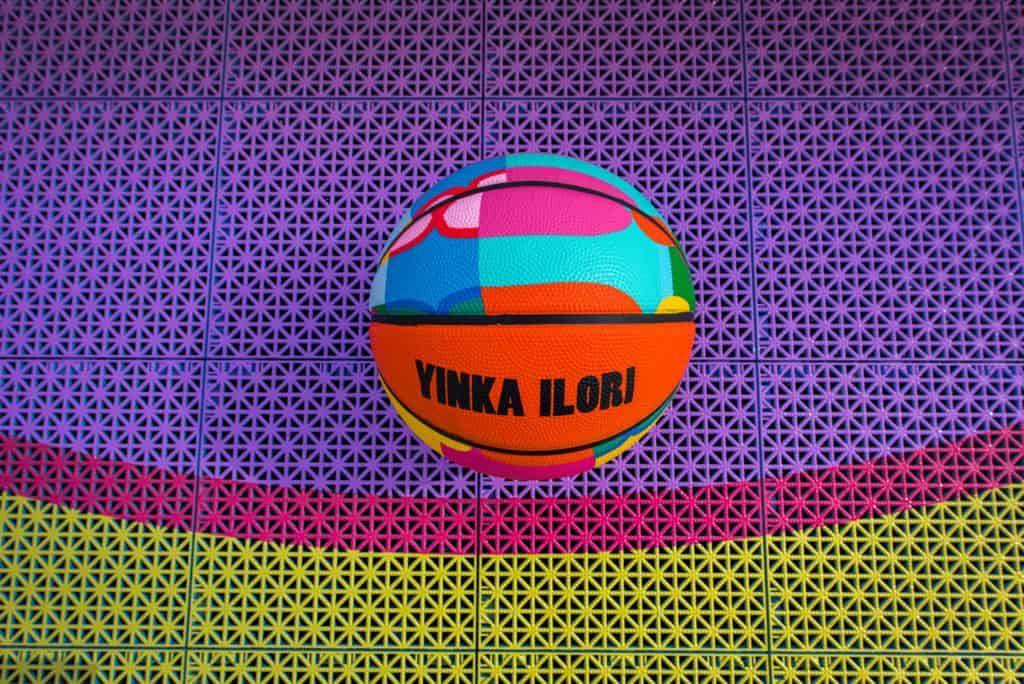 yinka ilori designed limited edition basketball and 3d printed court at canary wharf