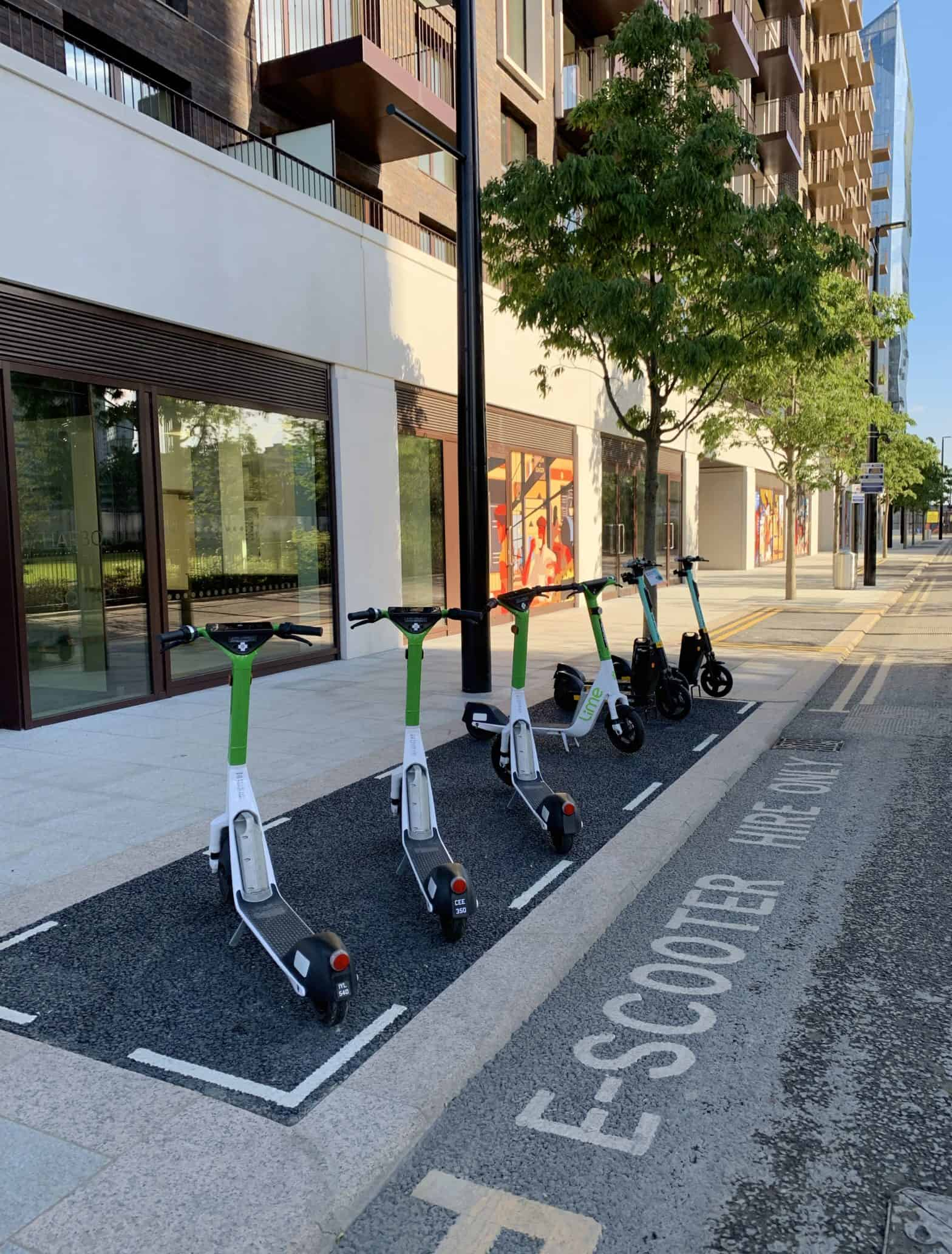 canary wharf e-scooter hire bay located in wood wharf residential district