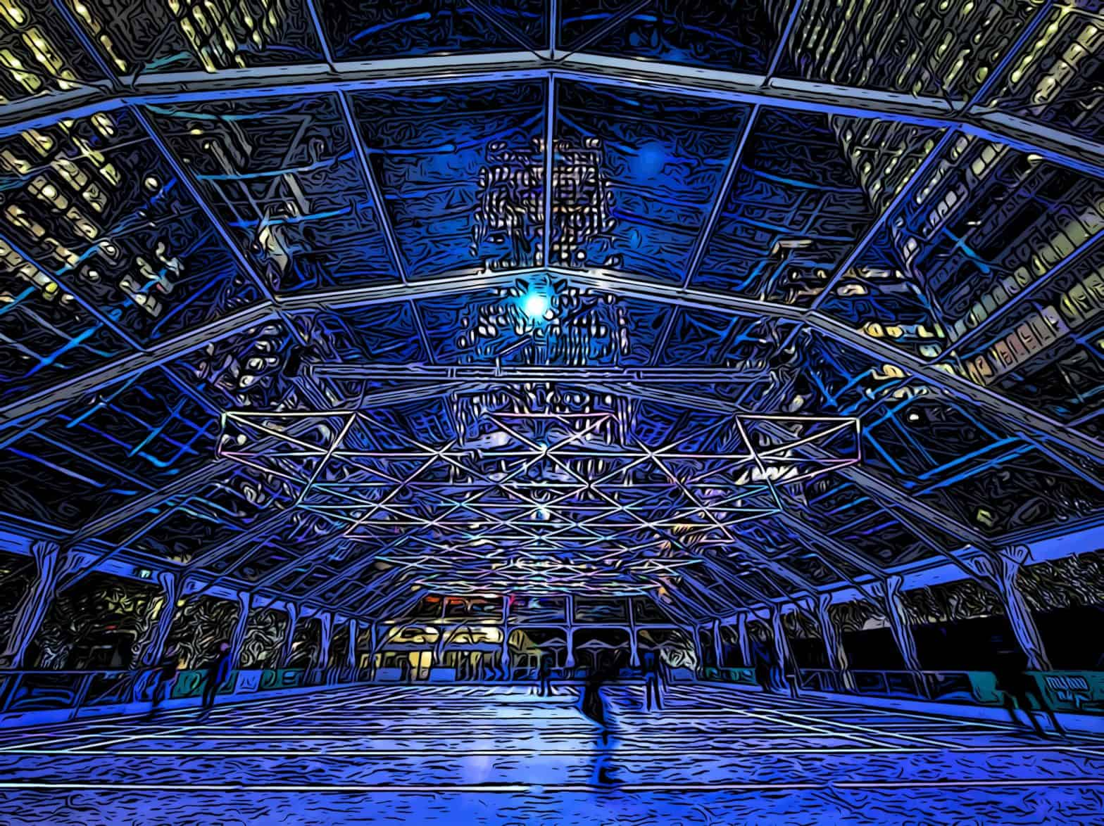 canary wharf ice rink with embedded LED lights and overhead display