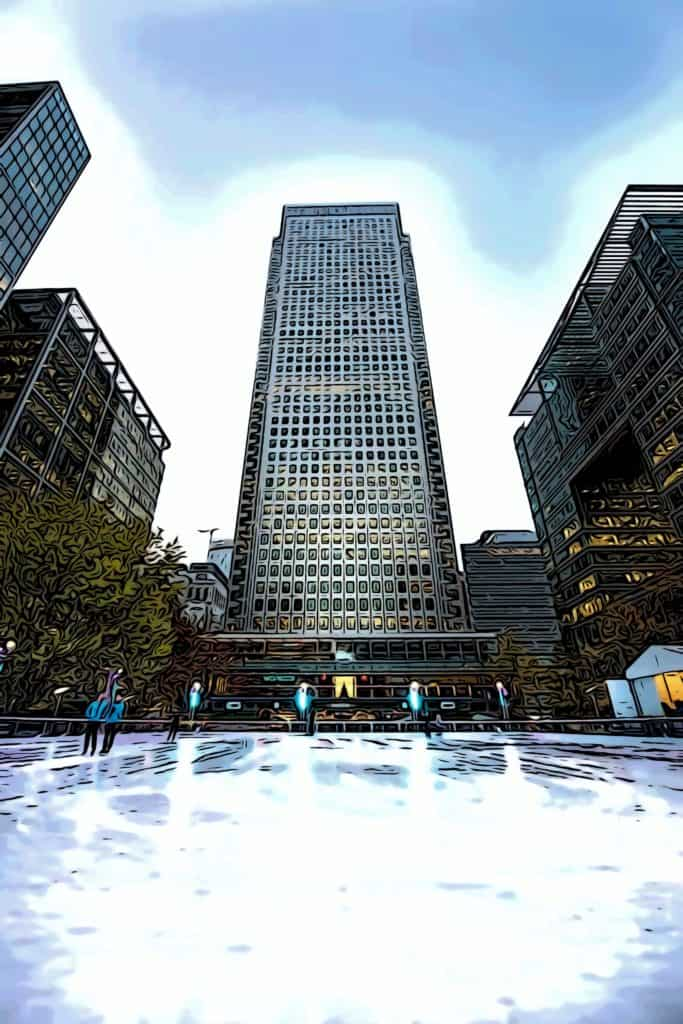 canary wharf open air ice rink by one canada square