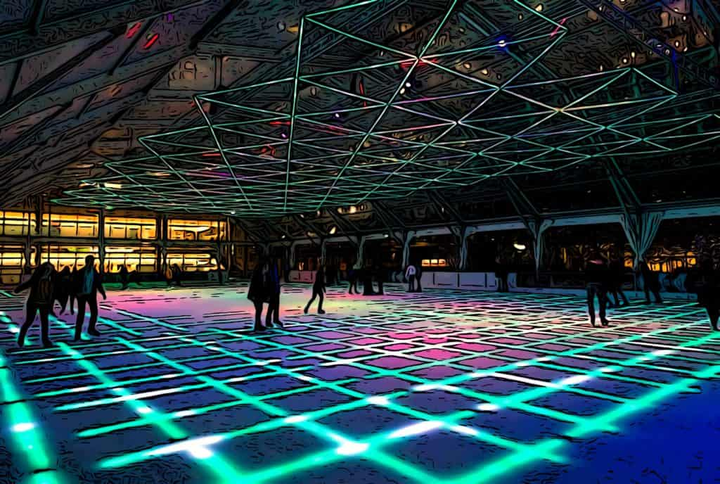 canary wharf ice skating at night with LED lighting